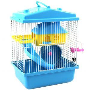 כלוב אוגר או מכרסם קטן בצבע כחול ורשת ברזל
